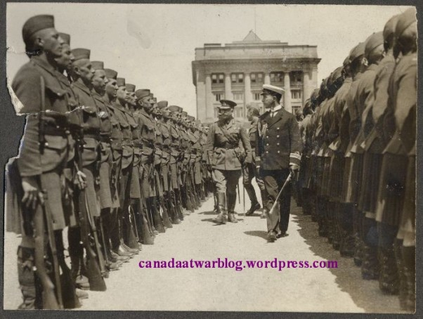 5th Royal Highlanders Inspection by Gov Gen at Champ de Mars 1914. .©University of Victoria Libraries, Special Collections, William Okell Holden Dodds fonds, #SC345.