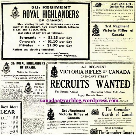 The Montreal Gazette Aug 14 Friday 1914. Montreal Regt.'s recuiting advertisements.