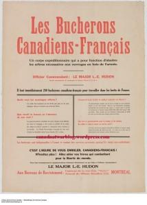 Les bûcherons Canadiens-Français recruitment campaign.
