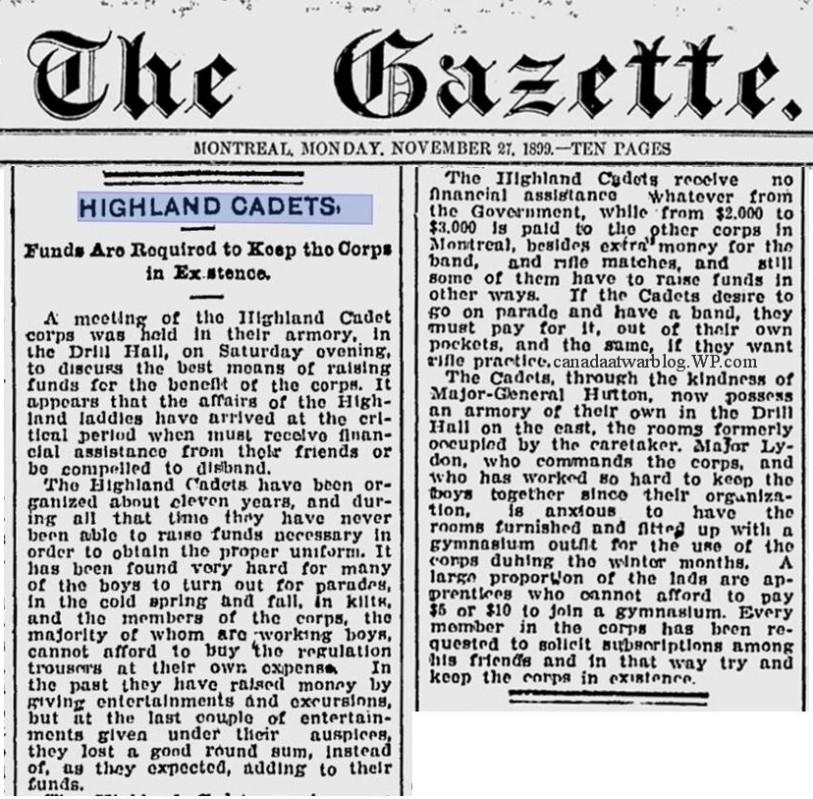 Montreal Highland Cadets, Montreal Gazette Monday Nov. 27. 1899.