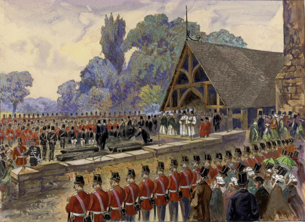 Funeral of Canadian Volunteers Killed in a Skirmish with the Fenians. Funeral of those killed at Ridgeway; at St. James' Cemetery, 1866.