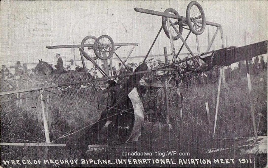 J.A.D. McCurdy's Wrecked Aeroplane At Chicago International Aviation Meet, August 12 - 20, 1911.