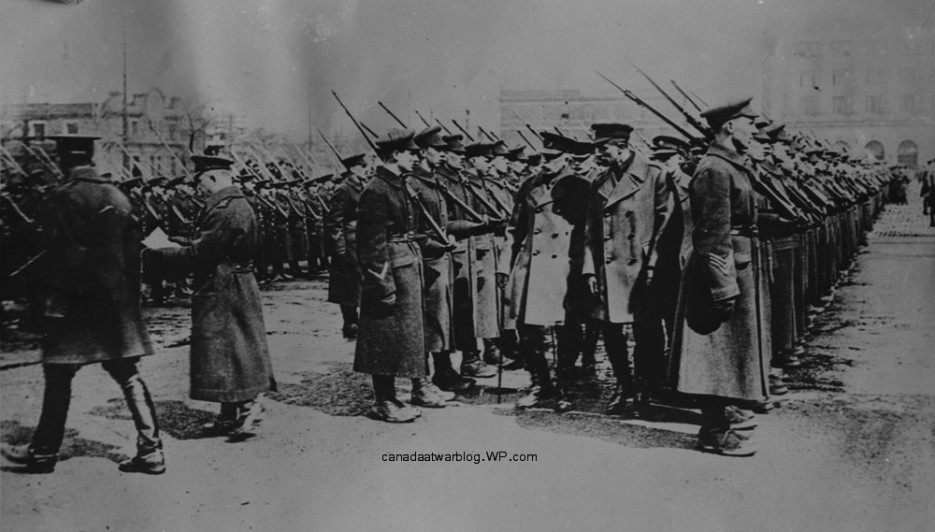 Princess Patricia Canadian Light Infantry, (P.P.C.L.I.) Duke of Connaught Inspecting No. 5 McGill University Company Reinforcements 1915.
